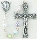 """4mm Multi-Colored Imit. Pearl Rosary, 17"""""""