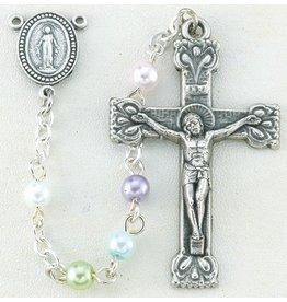 "William J. Hirten Co., LLC 4mm Multi-Colored Imit. Pearl Rosary, 17"""