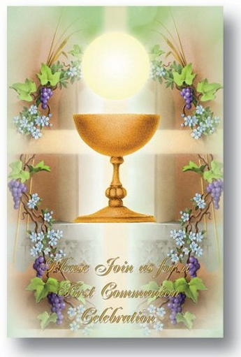 FIRST COMMUNION INVITATIONS 8 pack Joyful Spirit Gifts Catholic