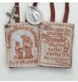 Brown Scapular w/ St. Benedict Medal & Crucifix