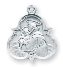 """HMH Religious Mfg 7/8"""" Sterling Silver St. Anthony Medal with 18"""" Chain"""