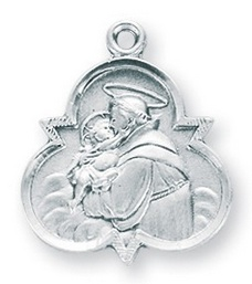 "7/8"" Sterling Silver St. Anthony Medal with 18"" Chain"