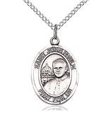 """Sterling Silver Saint John Paul II Pendant (3/4"""" x 1/2"""")"""