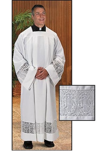 Latin Cross and IHS Lace Box Pleated Alb (TS420)