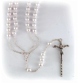 William J. Hirten Co., LLC 8mm Imitation Pearl Lasso Wedding Rosary with Silver Plated Chain Crucifix and Center 36""