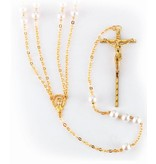 """8mm Imitation Pearl Lasso Wedding Rosary with Gold Plated Chain Crucifix and Center  36"""""""