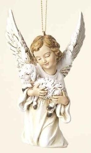 """4.25"""" ANGEL W/LAMB ORNAMENT"""