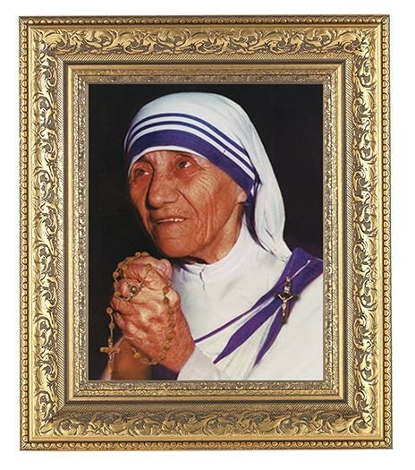 SAINT TERESA OF CALCUTTA IN AN BEAUTIFULLY DETAILED ORNATE GOLD LEAF ANTIQUE FRAME (8x10 print)