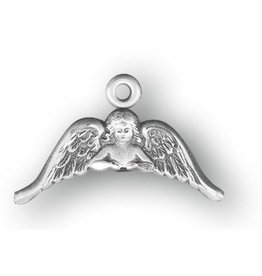 "HMH Religious Mfg 1/2"" Sterling Silver Angel with Wings Medal on an 18"" Chain, Boxed"