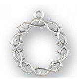 """HMH Religious Mfg 1"""" Sterling Silver Crown of Thorns with 20"""" Chain"""