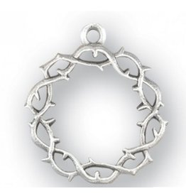 "HMH Religious Mfg 1"" Sterling Silver Crown of Thorns with 20"" Chain"