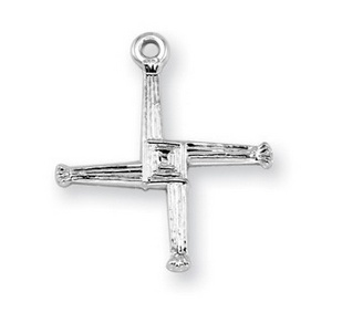 "HMH Religious Mfg 3/4"" Sterling Silver St. Brigid Cross with 18"" Chain"