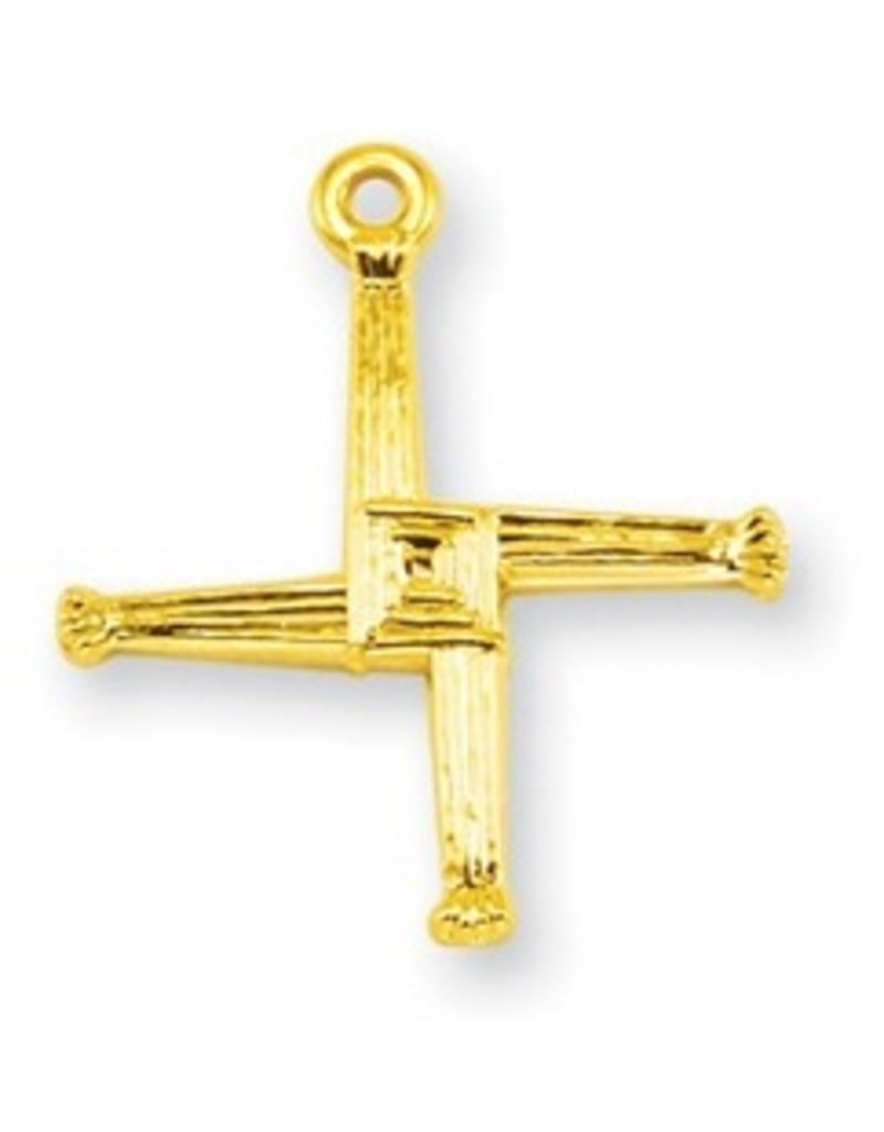 """HMH Religious Mfg 3/4"""" Gold Over Sterling Silver St. Brigid Cross with 18"""" Chain"""