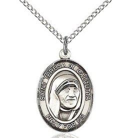 "Sterling Silver St Teresa of Calcutta (3/4"" x 1/2"") on 18"" chain"