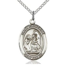 "Sterling Silver Oval St. Catherine of Siena Medal (3/4"" x 1/2"")on 18"" Sterling Chain"