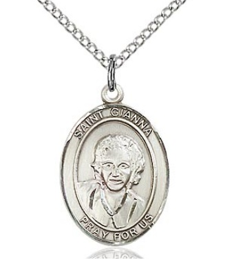 "Sterling Silver St Gianna Molla (3/4"" x 1/2"") on 18"" chain"