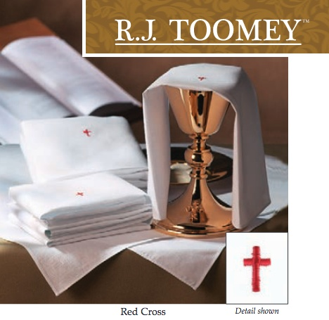 """Red Cross Chalice Pall with Insert (7"""" Square)"""