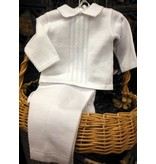 875386 Elegant Baby Boy's White Knit Set
