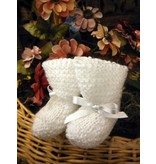 80201 Sweet White Wool Booties (one size 0-3 Mos)