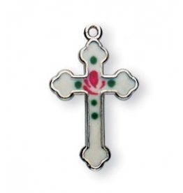 "Detailed 3/4"" White Enameled Sterling Silver Cross"