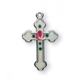 """HMH Religious Mfg Detailed 3/4"""" White Enameled Sterling Silver Cross"""