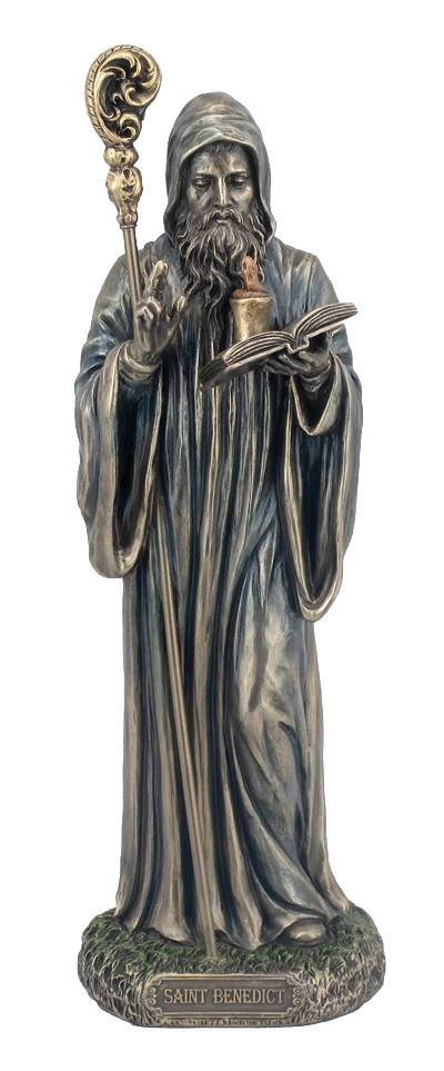 "St. Benedict Statue, Cold-cast Bronze, 8"""