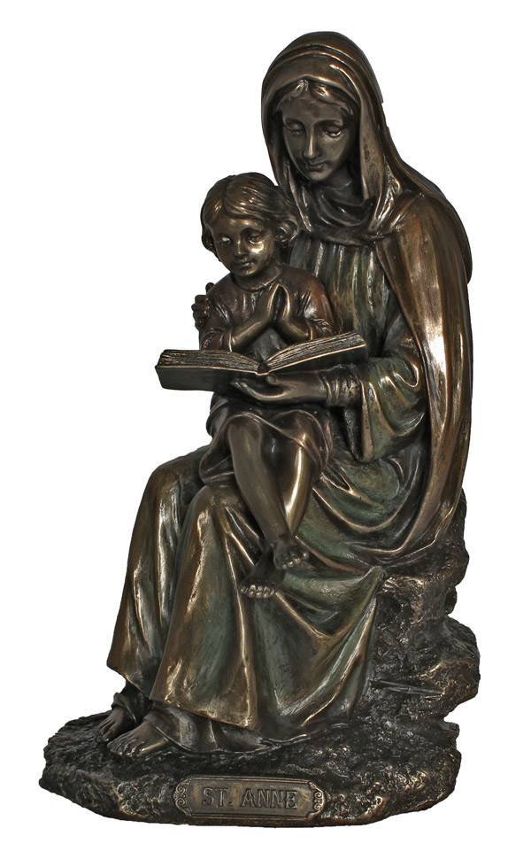 St. Anne with Mary, cold cast bronze, 7.5inches