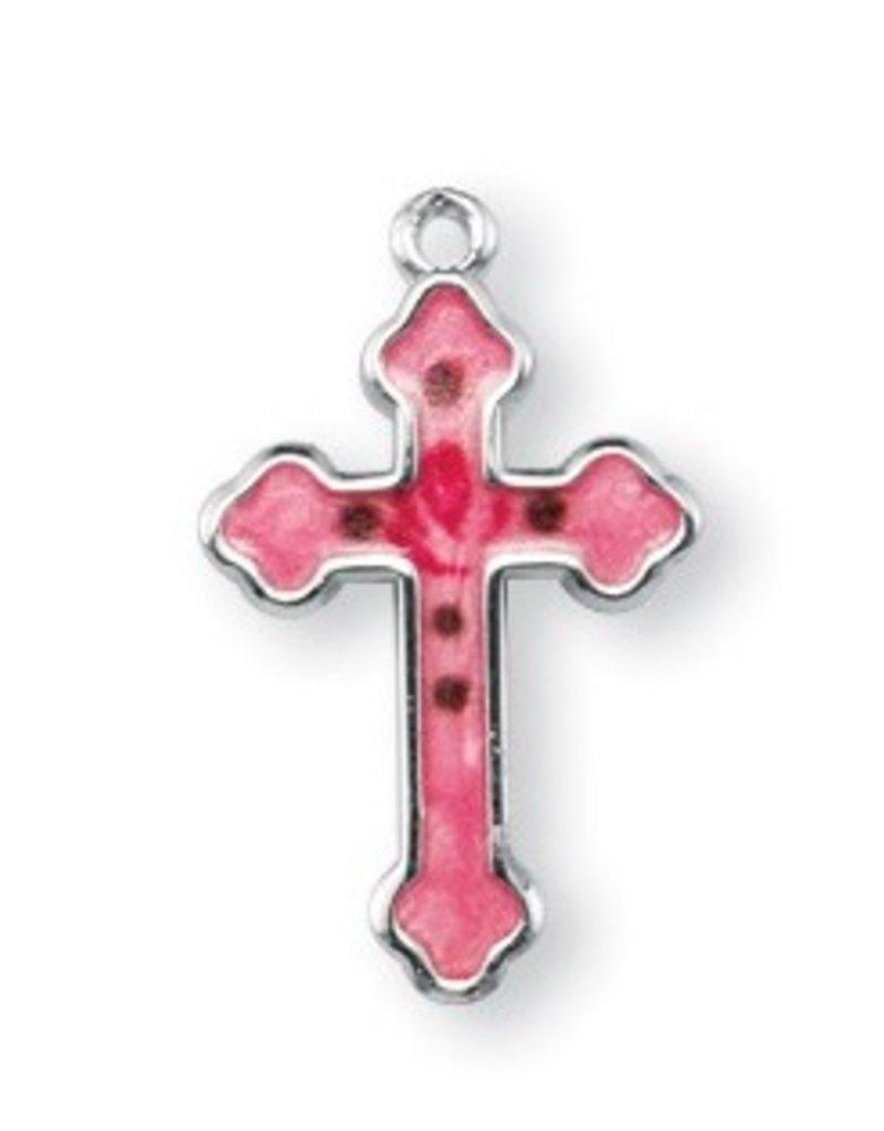 "HMH Religious Mfg Detailed 3/4"" Pink Enameled Sterling Silver Cross"