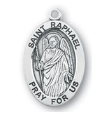 """HMH Religious Mfg 1 1/4"""" Sterling Silver Oval Medal"""