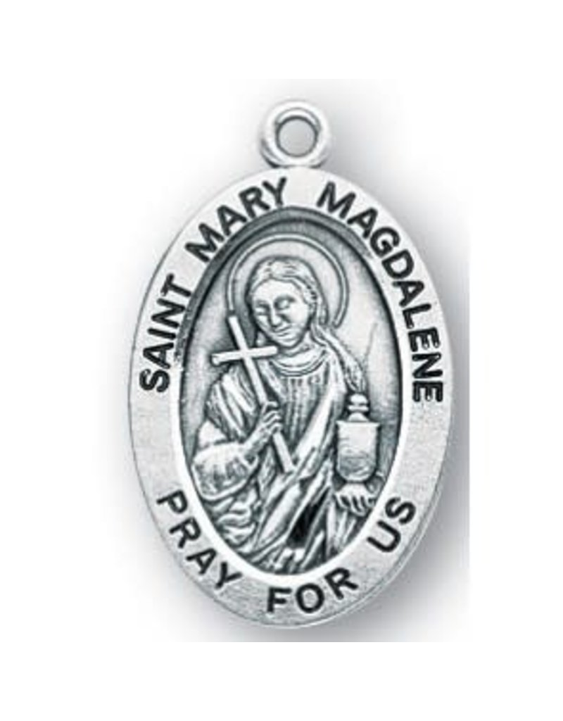 "HMH Religious Mfg 7/8"" Sterling Silver Oval Medal"