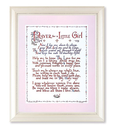 PRAYER FOR A LITTLE GIRL PRINT IN A PEARLIZED WHITE FRAME