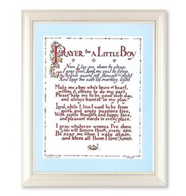 PRAYER FOR A LITTLE BOY PRINT IN A PEARLIZED WHITE FRAME