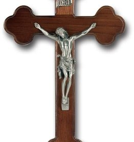 "10"" WALNUT CROSS WITH PEWTER CORPUS"