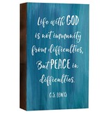 """8"""" Box Sign - Life with God, C.S. Lewis"""