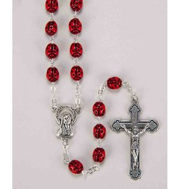 William J. Hirten Co., LLC 7MM METAL RED LADYBUG ROSARY WITH CROSS AND CENTER