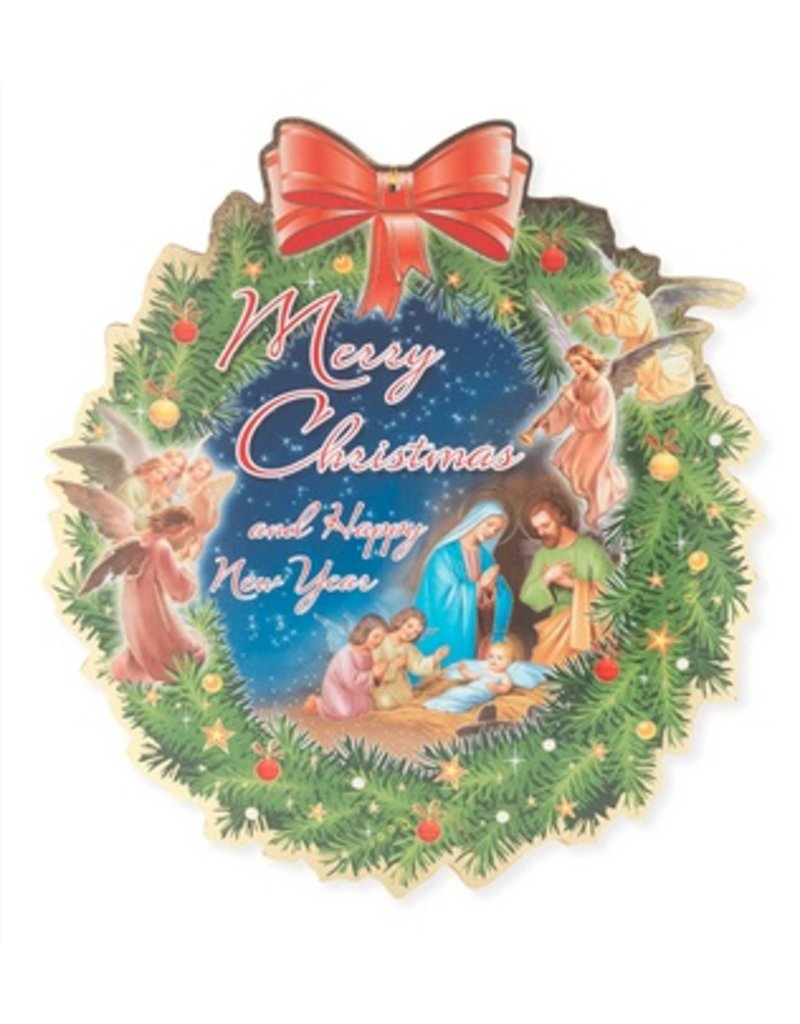 "William J. Hirten Co., LLC 12"" CHRISTMAS & NEW YEAR WREATH SHAPED PLAQUE"
