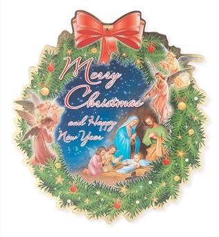 "William J. Hirten Co., LLC 12"" CHRISTMAS & NEW YEAR WREATH SHAPED PLAQUE"