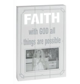 "Faith Laser Cut Plaque Frame (holds 4""x6"")"