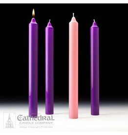 Cathedral Candle Company Advent Set Stearine 1-1/2 x 16 (3 Purple, 1 Rose)