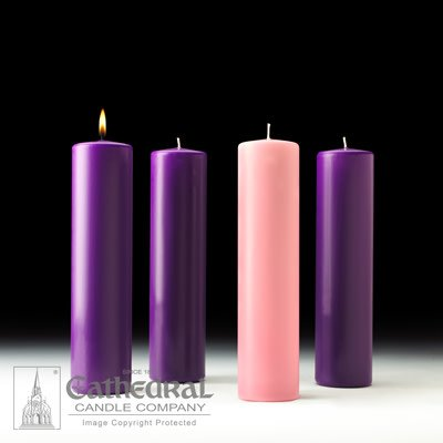 Cathedral Candle Company Advent Set Stearine Pillar 3 x 12 (3 Purple, 1 Rose)