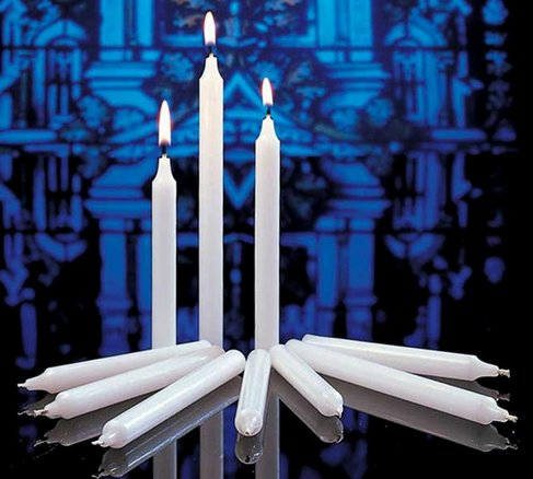 """Cathedral Candle Company Congregational Candles (size 24s; 17/32"""" x 5 1/4""""; white with white drip cards;100 per box)"""
