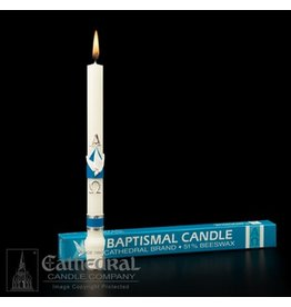 Baptismal Candle, 51% Beeswax with Raised Wax Ornaments