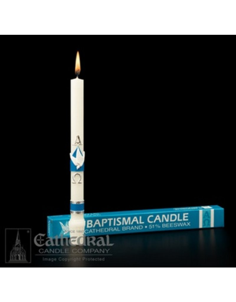 Cathedral Candle Company Baptismal Candle, 51% Beeswax with Raised Wax Ornaments