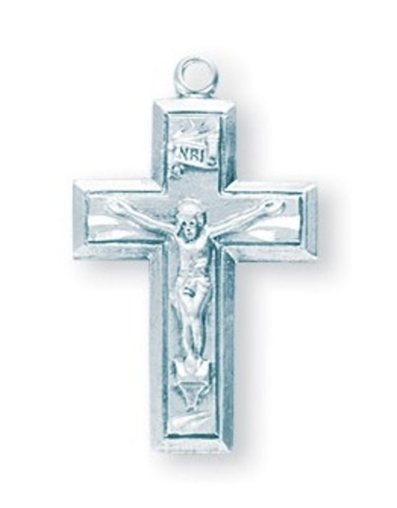 """HMH Religious Mfg Sterling Silver 7/8"""" Wide Crucifix"""