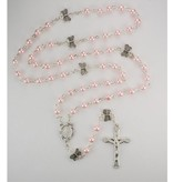 5MM PINK PEARL/BUTTERFLY ROSARY