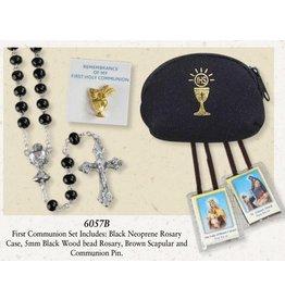 Black Wood Bead Communion Rosary Set 6057B