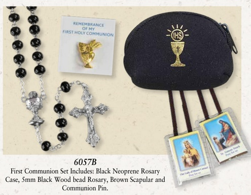 Black Wood Bead Communion Rosary Set 6057B