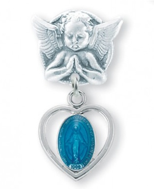 Blue Enameled Pierced Heart Sterling Silver Baby Miraculous Medal on an Angel Pin