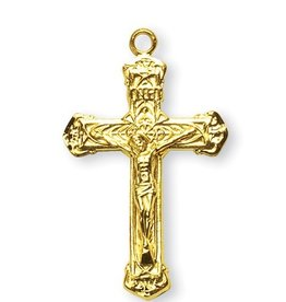 HMH Religious Mfg Gold Over Sterling Silver Intricate Lined Crucifix
