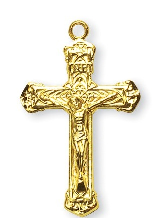 Gold Over Sterling Silver Intricate Lined Crucifix